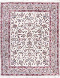 One-Of-a-Kind Floral Kashmar Persian Hand-Knotted 7x8 Ivory Area Wool Rug