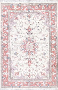 Wool/Silk Floral Tabriz Persian Hand-Knotted 7x10 Ivory Area Rug
