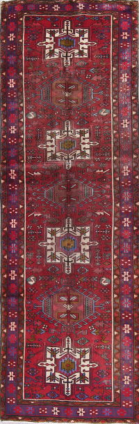 Vintage Tribal Geometric Heriz Persian Hand-Knotted 3x11 Red Runner Wool Rug