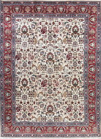 Vintage All-Over One-of-a-Kind Tabriz Persian Hand-Knotted 10x13 Ivory Area Rug