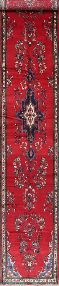 Floral Lilian Hamedan Persian Hand-Knotted 4x22 Red Runner Rug