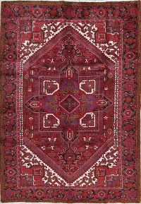 One-Of-a-Kind Geometric Heriz Persian Hand-Knotted 6x9 Red Area Wool Rug