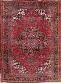 Vintage Geometric Heriz Persian Hand-Knotted 8x11 Red Area Rug Wool