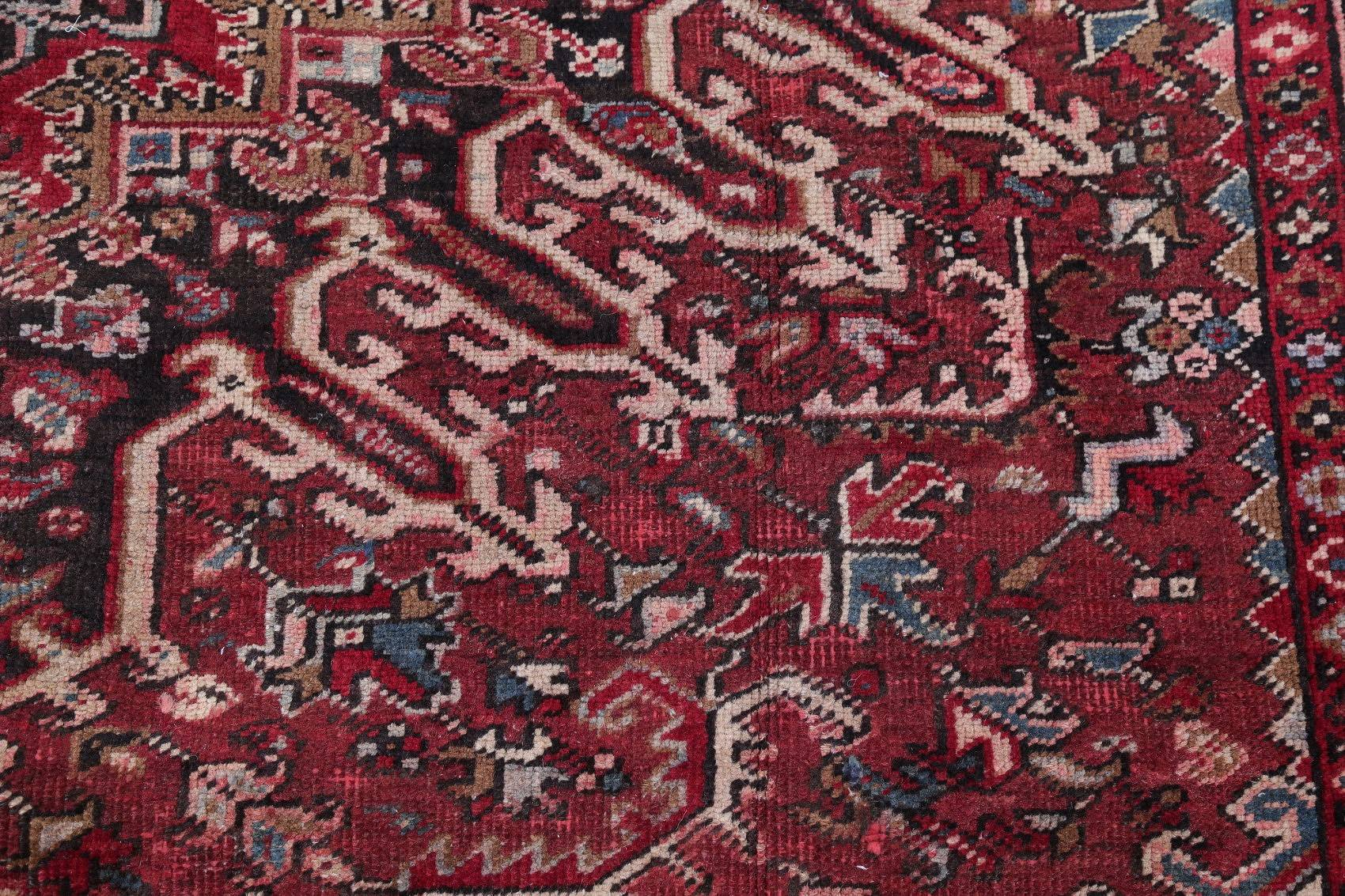 Antique Geometric Heriz Persian Hand-Knotted 8x11 Red Area Rug Wool
