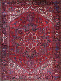 Vintage Geometric Heriz Persian Hand-Knotted 10x13 Red Area Rug Wool
