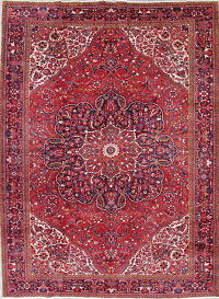 One-Of-a-Kind Heriz Persian Hand-Knotted 11x16 Red Wool Rug