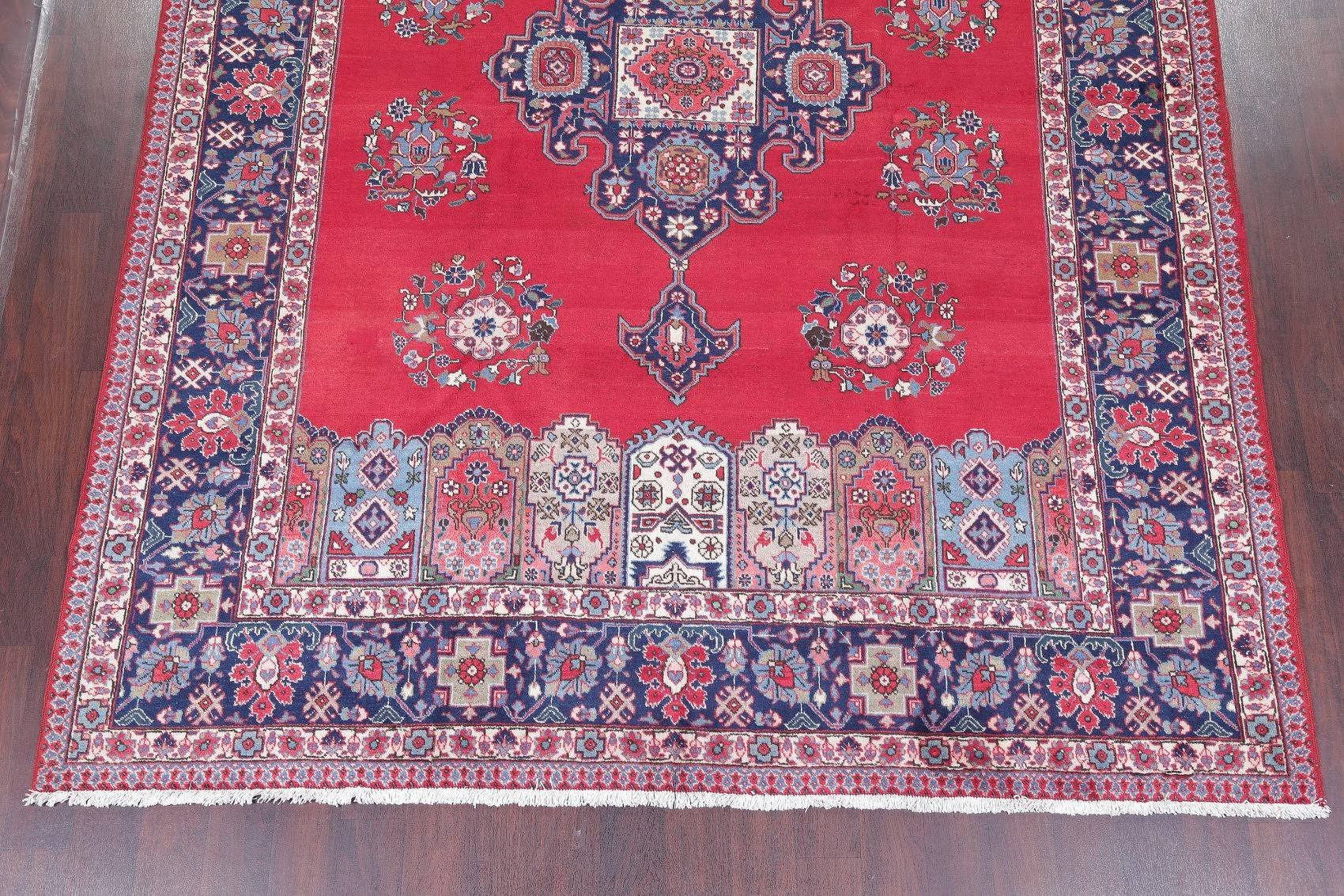 Vintage Geometric Tabriz Persian Hand-Knotted 8x11 Red Area Rug