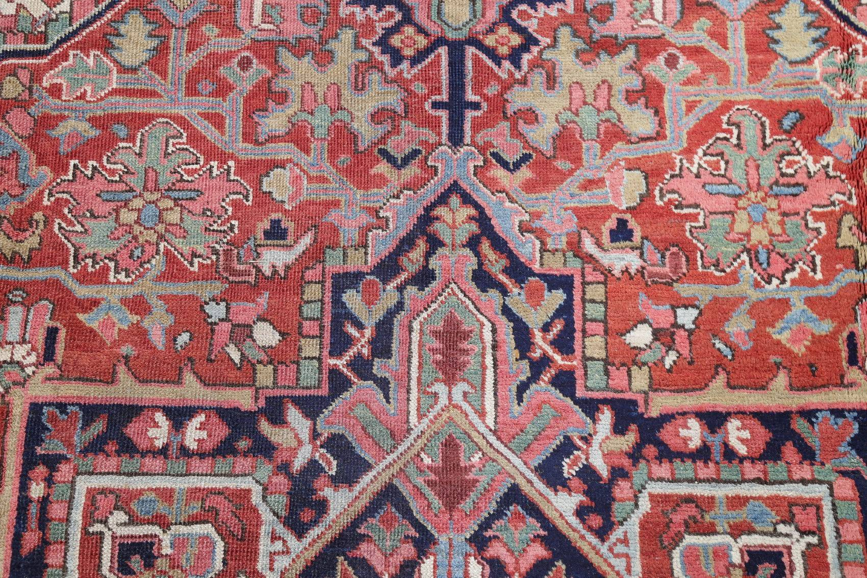 Antique Vegetable Dye Hariz Serapi Persian Hand-Knotted 9x12 Area Rug Wool