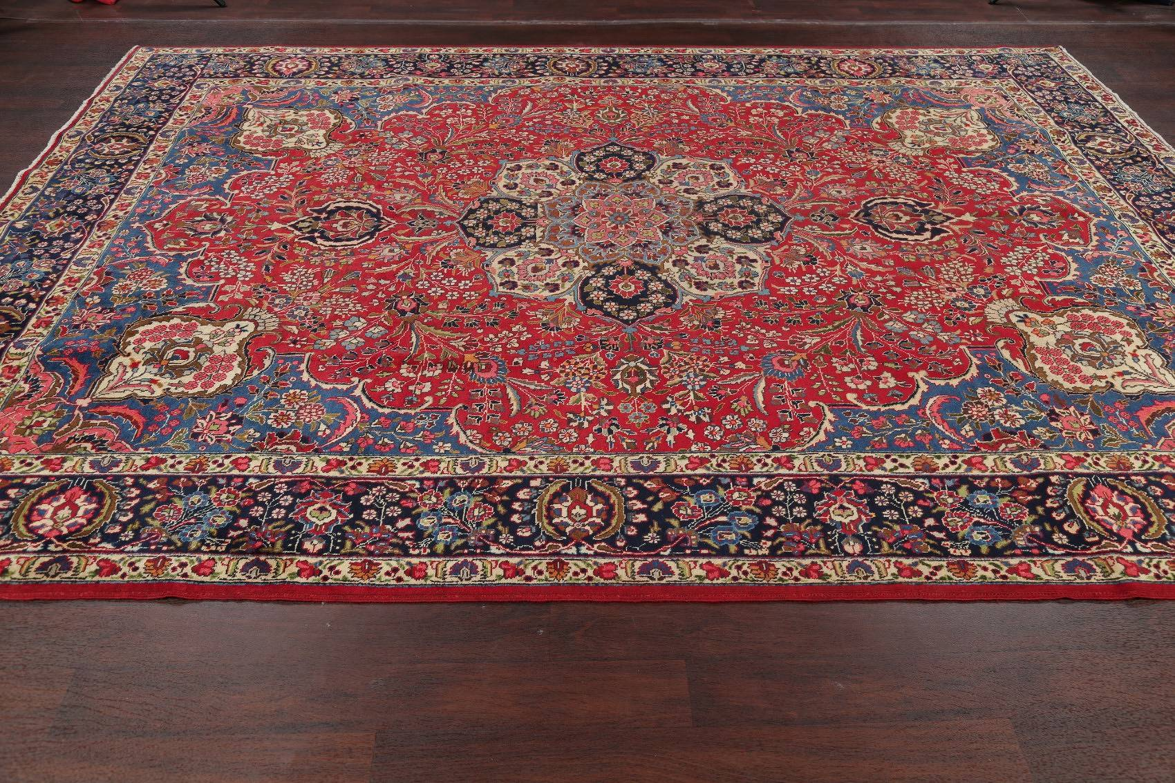Vintage Tabriz Persian Hand-Knotted 8x11 Red Area Wool Rug
