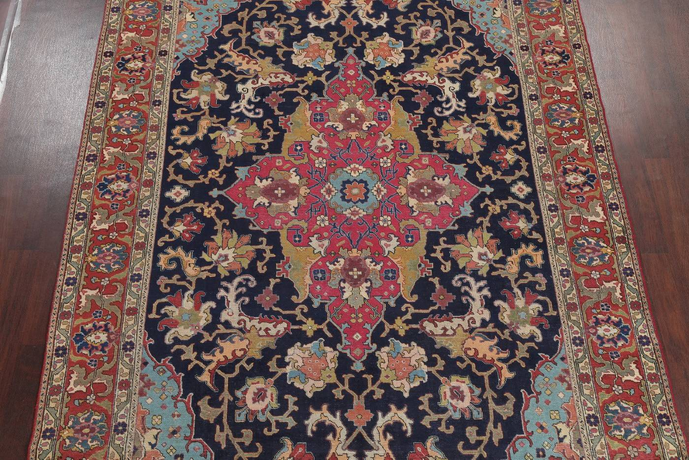Antique Vegetable Dye Tabriz Persian Hand-Knotted 8x11 Navy Blue Area Rug