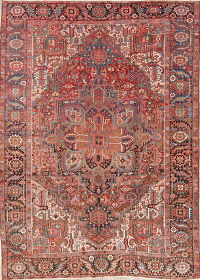 Antique Vegetable Dye Heriz Serapi Persian Rug Wool 9x12
