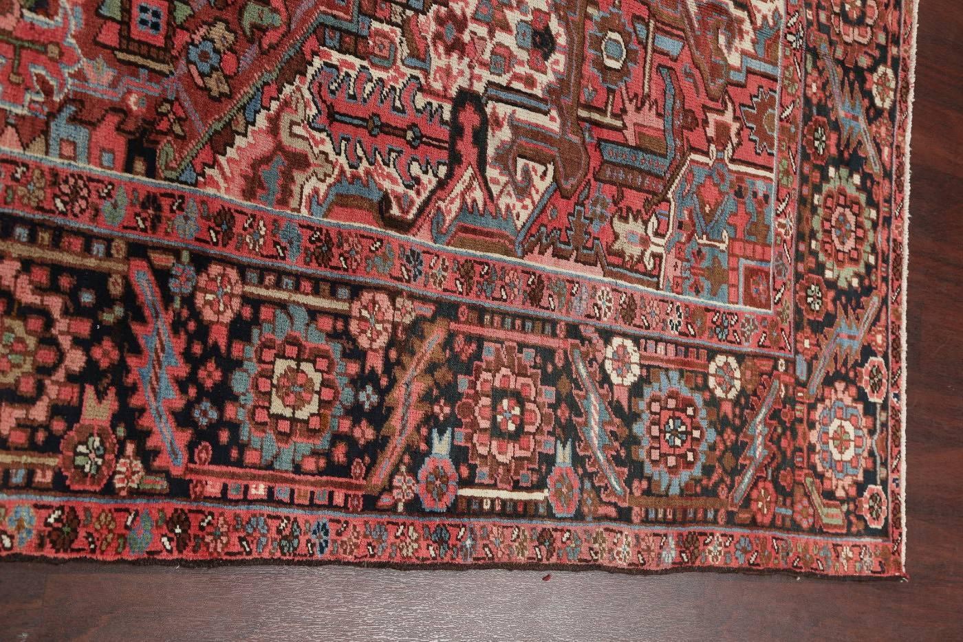 Antique Vegetable Dye Geometric Heriz Serapi Persian Hand-Knotted 9x12 Area Rug Wool