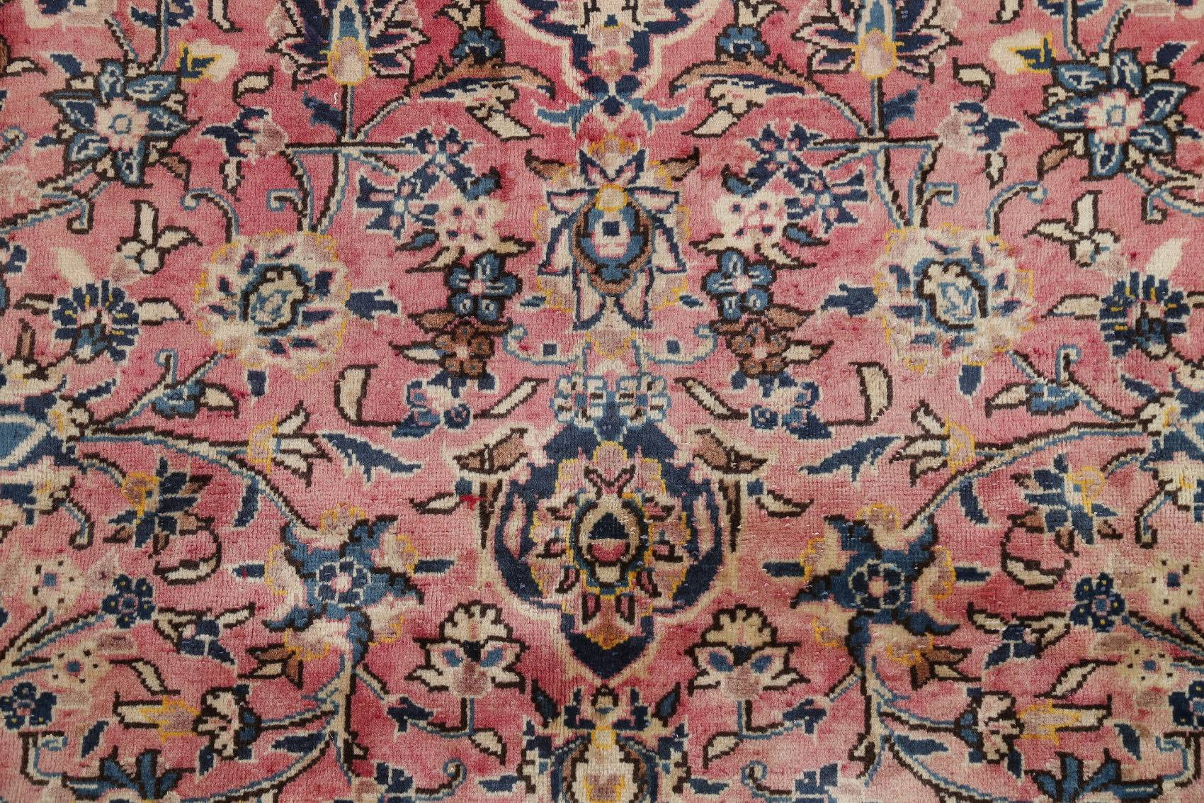 Floral Kashan Persian Hand-Knotted 8x11 Pink Area Rug Wool