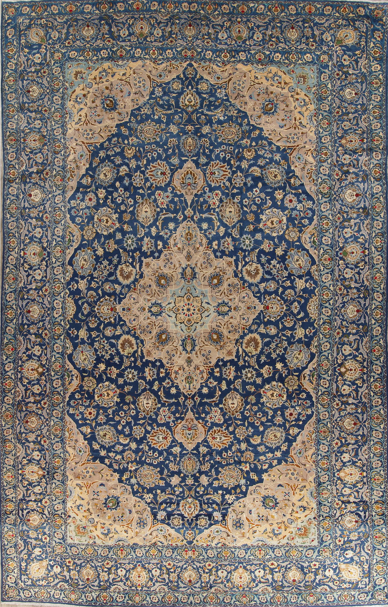 Antique Light Blue Floral Tabriz Persian Hand Knotted 11x19 Wool Rug