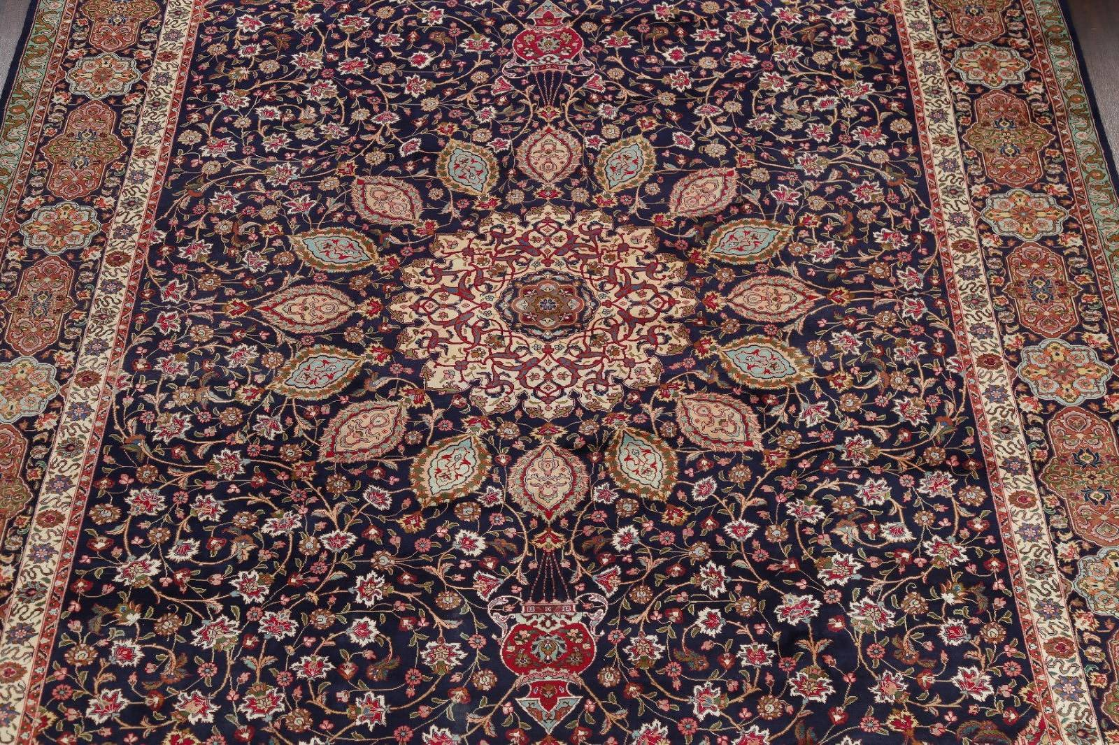 Geometric Navy Blue Tabriz Persian Hand-Knotted Area Rug Wool 10x16