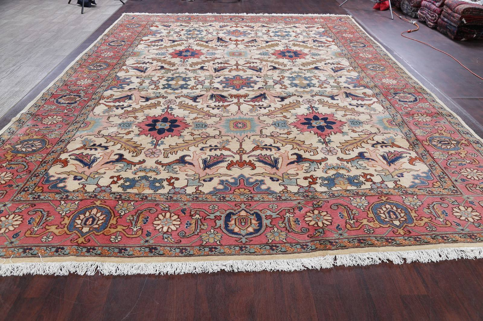 Vegetable Dye Floral Heriz Serapi Persian Hand-Knotted 11x16 Ivory Rug Wool