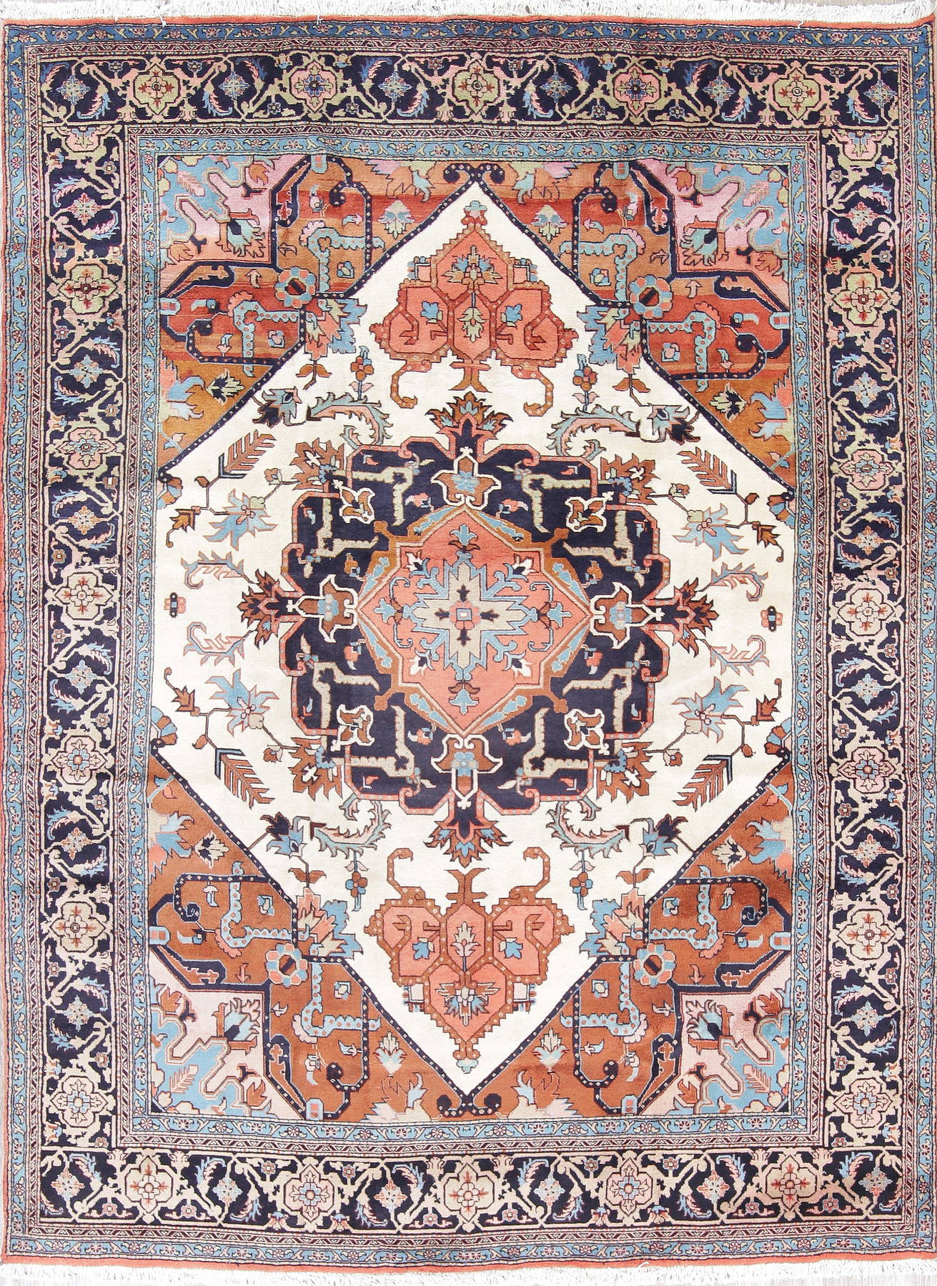 Geometric Heriz Persian Hand-Knotted 8x11 Ivory Area Rug Wool