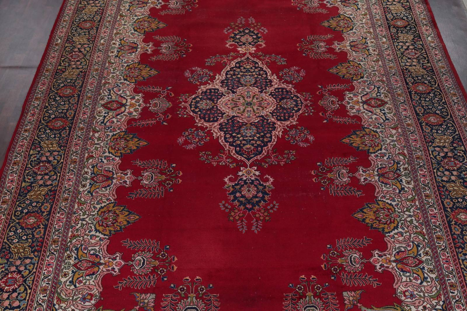 Floral Tabriz Persian Hand-Knotted 12x18 Red Rug Wool