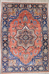 Geometric Heriz Serapi Persian Hand-Knotted 13x19 Pastel Red Rug Wool