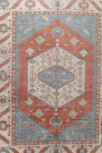 Vegetable Dye Heriz Serapi Persian Handmade 17x22  Muted Terracota Rug Wool
