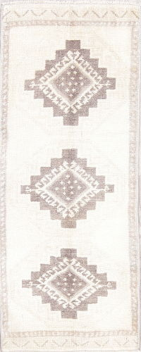Geometric Oushak Turkish Oriental Hand-Knotted 2x4 Wool Rug
