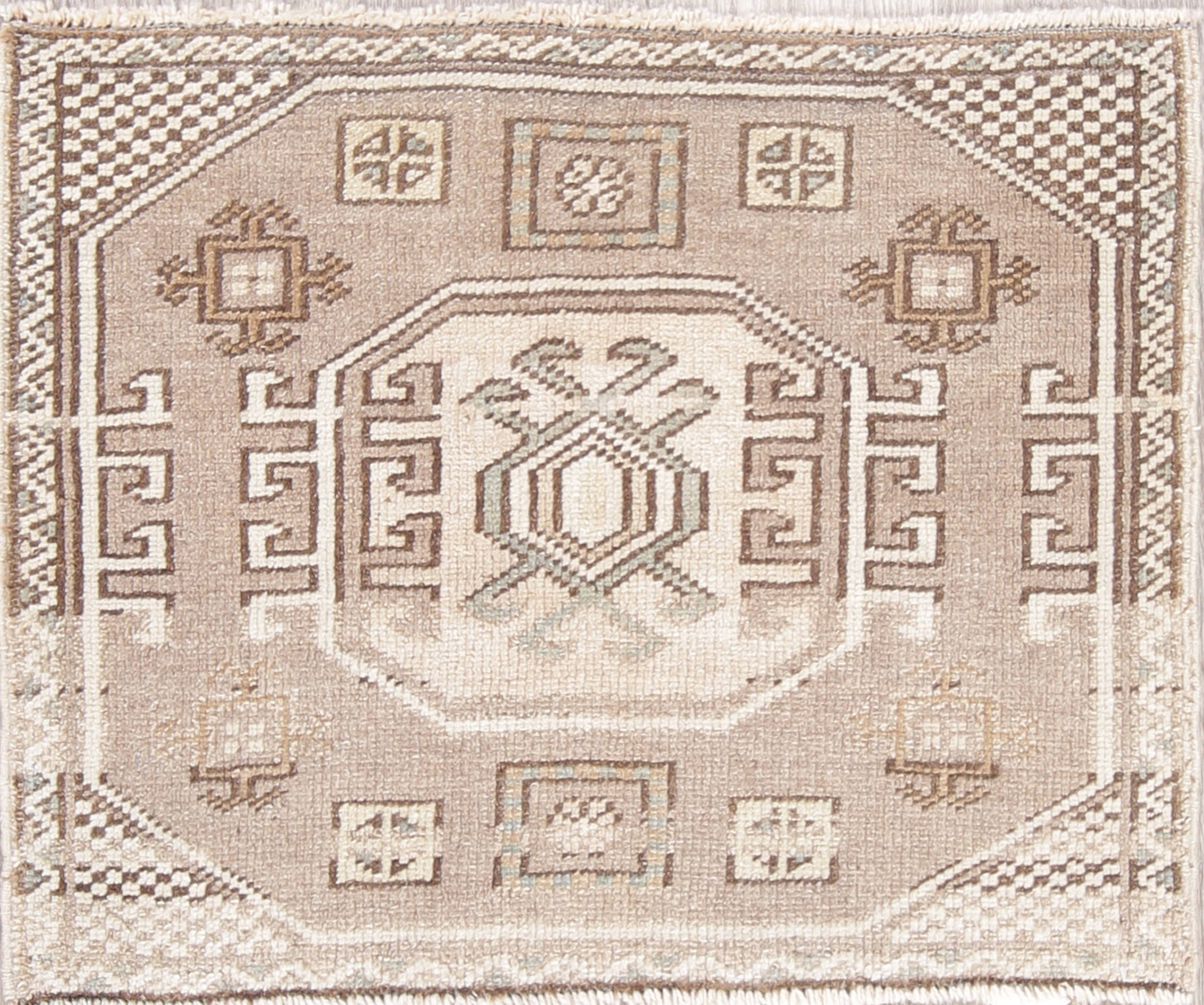 Geometric Muted Oushak Turkish Hand-Knotted 2x2 Square Wool Rug
