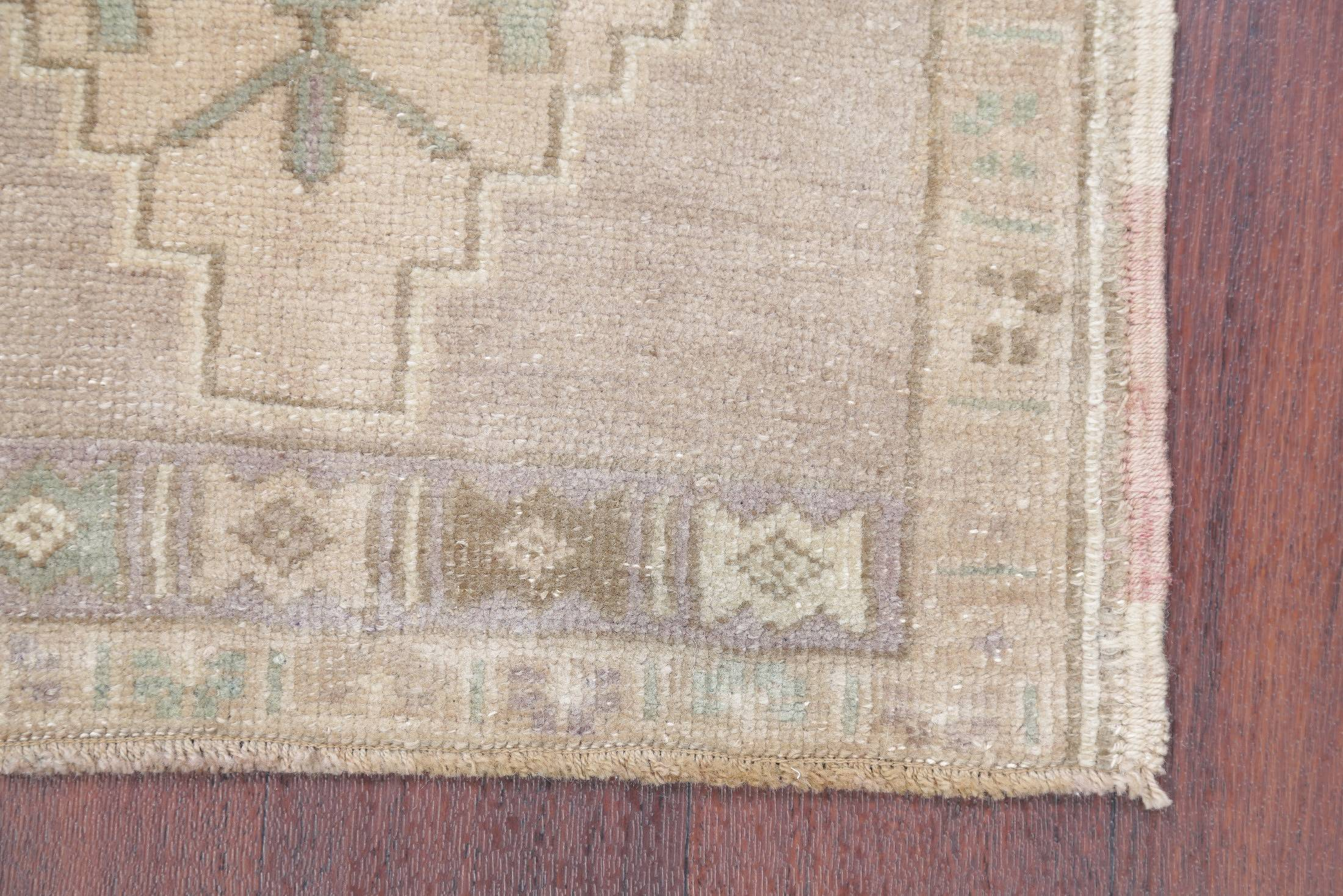 Geometric Oushak Turkish Hand-Knotted 2x3 Beige Wool Rug