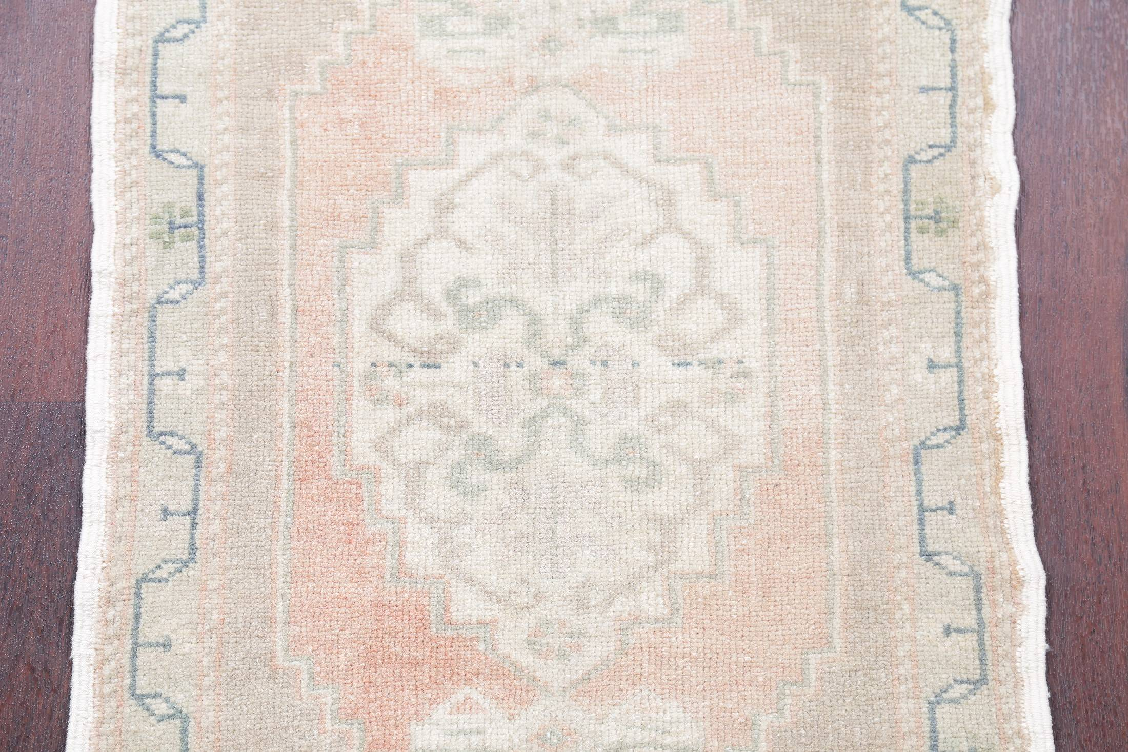 Geometric Oushak Turkish Hand-Knotted 2x3 Muted Color Wool Rug