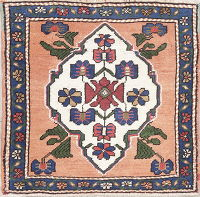 Peach Color Oushak Turkish Hand-Knotted 2x2 Square Wool Rug
