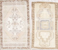 Set of 2 Muted Oushak Turkish Hand-Knotted 2x3 Wool Rug