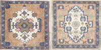 Set of 2 Muted Oushak Turkish Hand-Knotted 2x2 Square Wool Rug