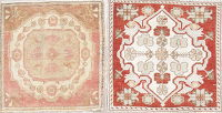 Set of 2 Antique Oushak Turkish Hand-Knotted 2x2 Square Wool Rug