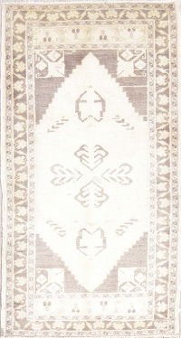 Oushak Turkish Oriental Hand-Knotted 2x3 Wool Ivory Rug