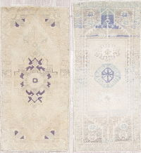 Set of 2 Antique-Washed Muted Oushak Turkish Hand-Knotted 2x3 Distressed Rug