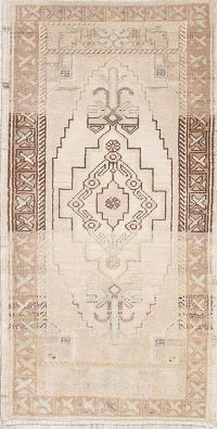 Geometric Muted Oushak Turkish Oriental Hand-Knotted 2x4 Wool Rug