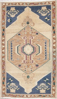 Geometric Tribal Oushak Turkish Oriental Hand-Knotted 2x3 Wool Rug