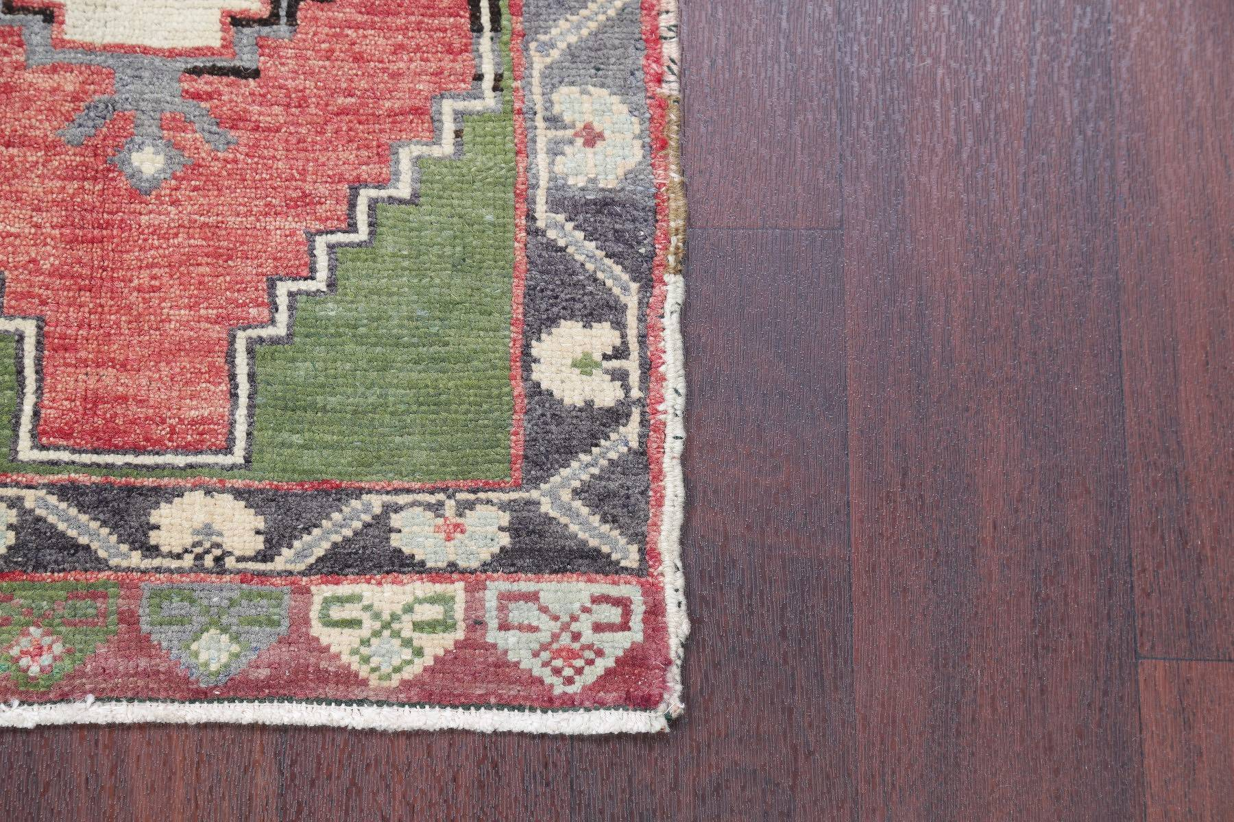 Set of 3 Antique-Washed Muted Oushak Turkish Hand-Knotted 2x3 Wool Rug