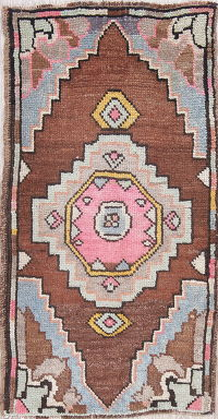 Antique Geometric Brown Oushak Turkish Oriental Hand-Knotted 2x3 Wool Rug