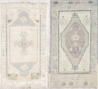 Set of 2 Antique-Washed Muted Oushak Turkish Hand-Knotted 2x3 Wool Rug