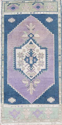 Antique Oushak Turkish Hand-Knotted 2x3 Lilac Wool Rug