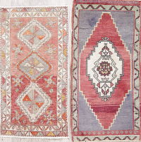 Set of 2 Vintage Geometric Muted Oushak Turkish Hand-Knotted 2x3 Wool Rug