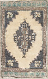 Geometric Oushak Turkish Hand-Knotted 2x3 Wool Beige/Charcoal Rug
