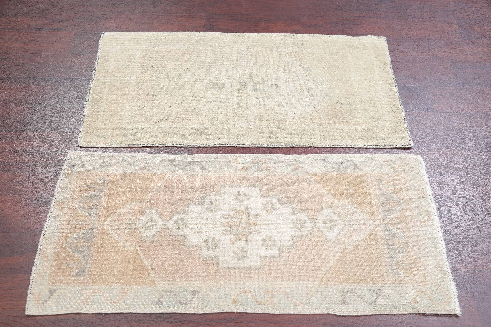 Set of 2 Antique-washed Muted Oushak Turkish Hand-Knotted 2x4 Wool Rug