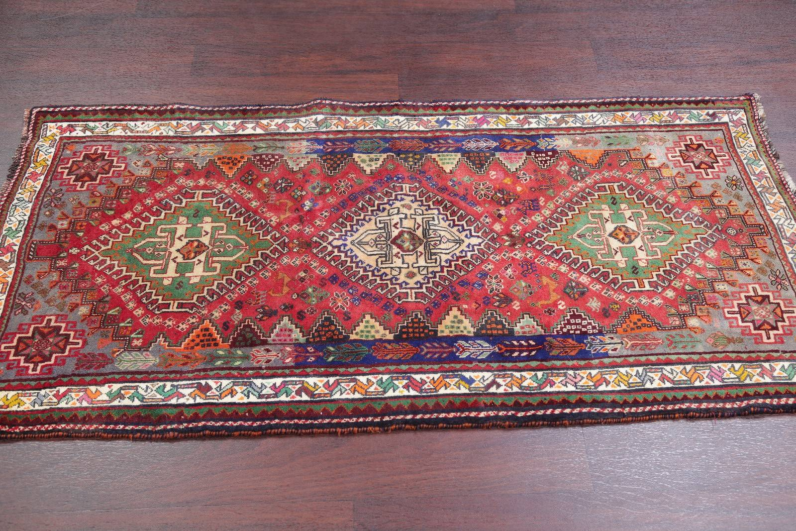 One of a Kind Tribal Geometric Abadeh Persian Hand-Knotted 3x6 Wool Runner Rug