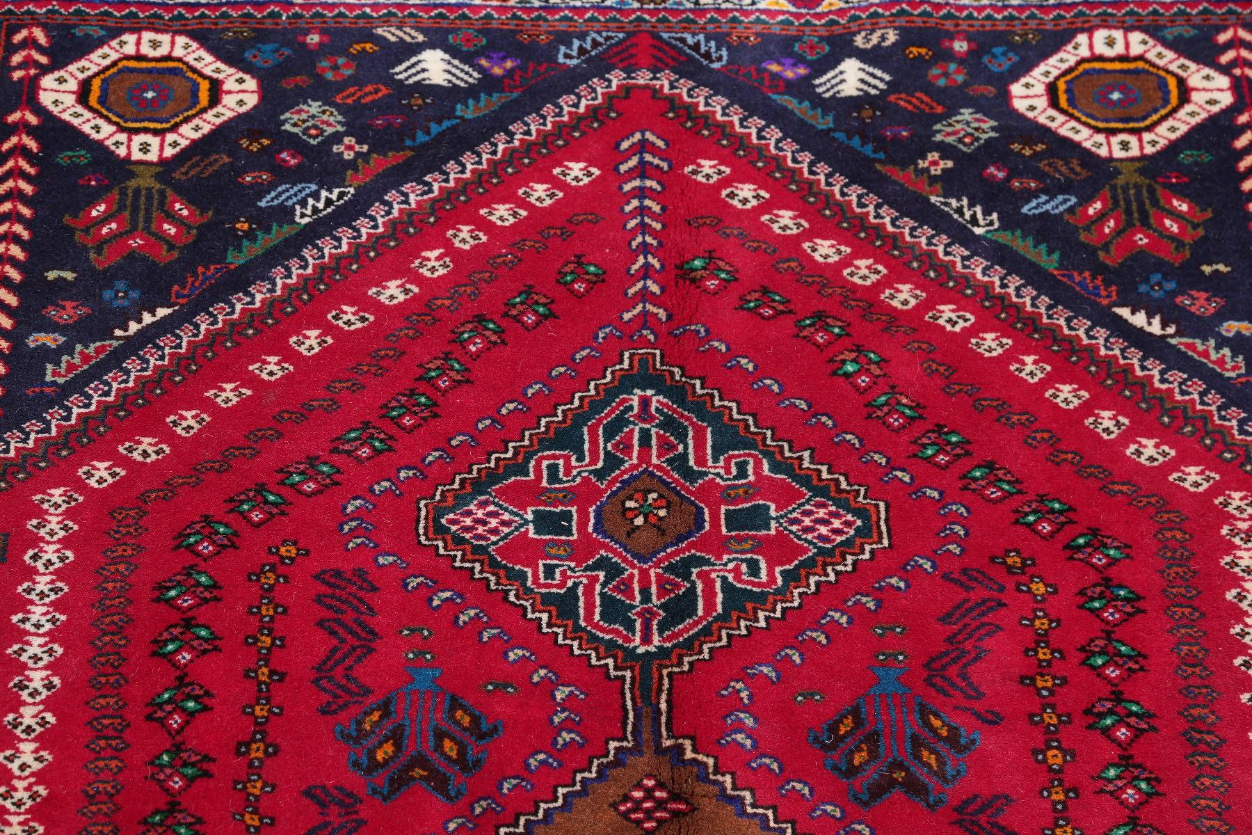 One of a Kind Red Tribal Geometric Abadeh Persian Hand-Knotted 4x5 Wool Area Rug