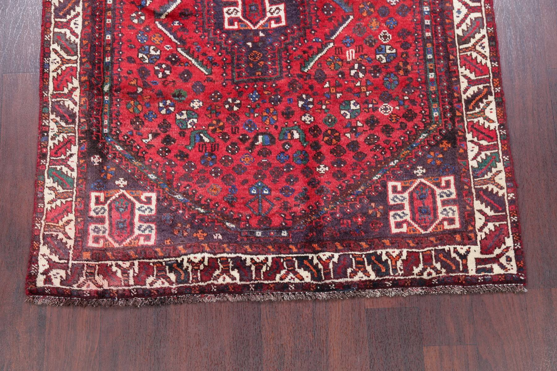 One of a Kind Red Tribal Geometric Abadeh Persian Hand-Knotted 4x5 Wool Rug
