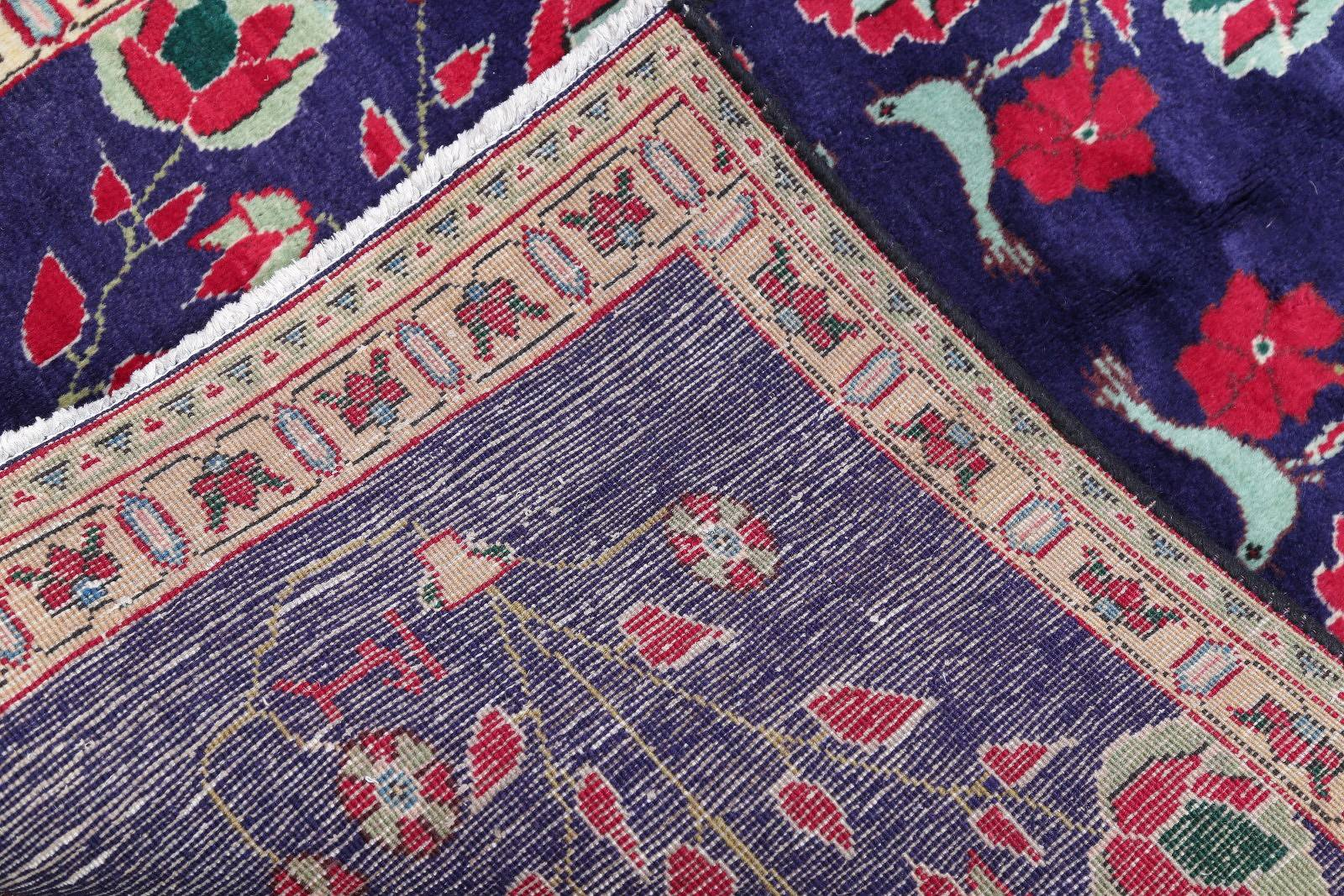 One Of a Kind Purple Floral Sirjan Persian Hand-Knotted 3x5 Wool Rug