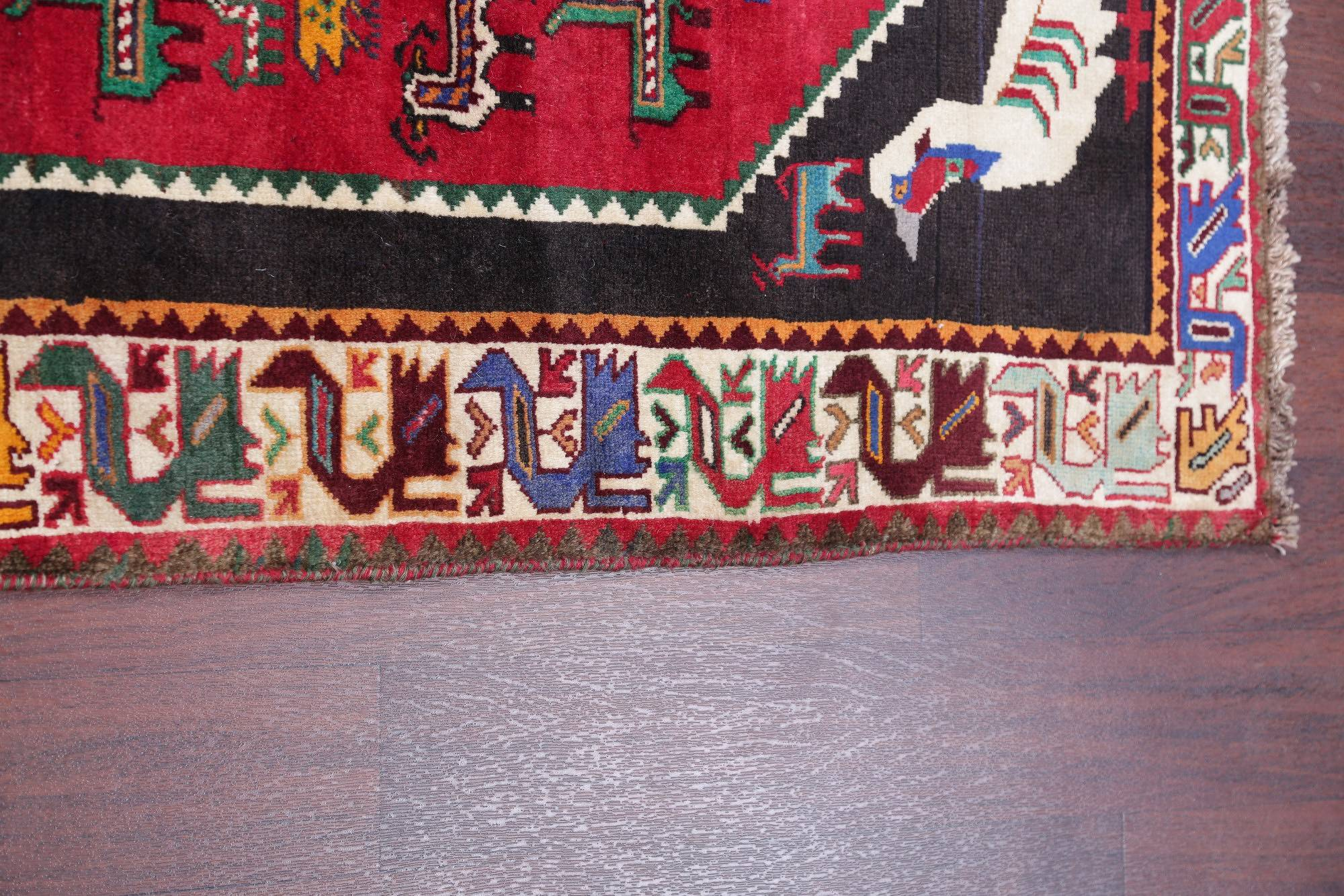 One of a Kind Animal Pictorial Shiraz Persian Hand-Knotted 4x5 Wool Rug
