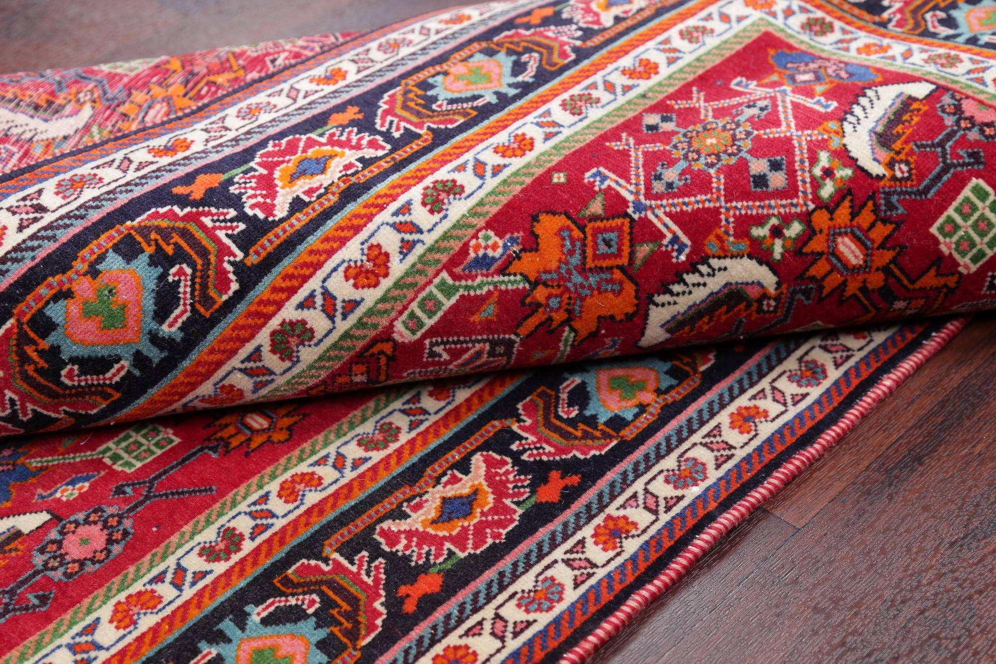 One of a Kind Red All-Over Kashkoli Persian Hand-Knotted 3x5 Wool Rug