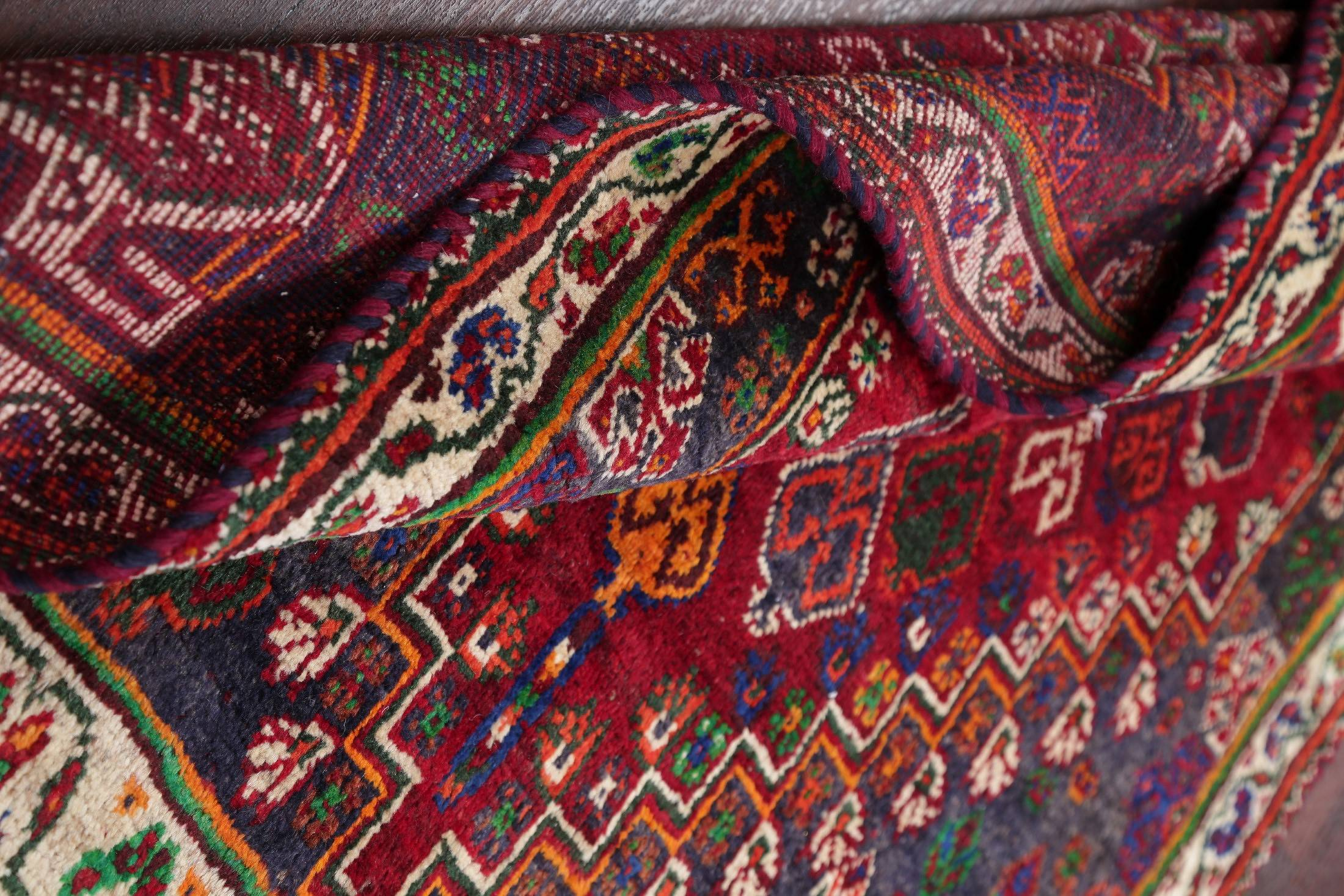 One of a Kind Red Geometric Abadeh Persian Hand-Knotted 4x5 Wool Rug